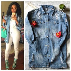 Jackets & Blazers - Faux Pearl Distressed Denim Longline Jacket